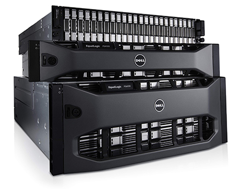 Dell EqualLogic PS6100 storage system with 2.5-inch drives without bezel, PS4100 storage system with 3.5-inch drives with bezel, and PS6100 storage system with 2.5-inch drives with bezel. This image is a family shot that works for PS6100xv, PS6100s, PS6100x, PS6100xs with 2.5-inch drives in a 2U array WITH PS4100xv, PS4100e with 3.5-inch drives in a 2U array WITH PS6100xv, PS6100e with 3.5-inch drives in a 4U array.